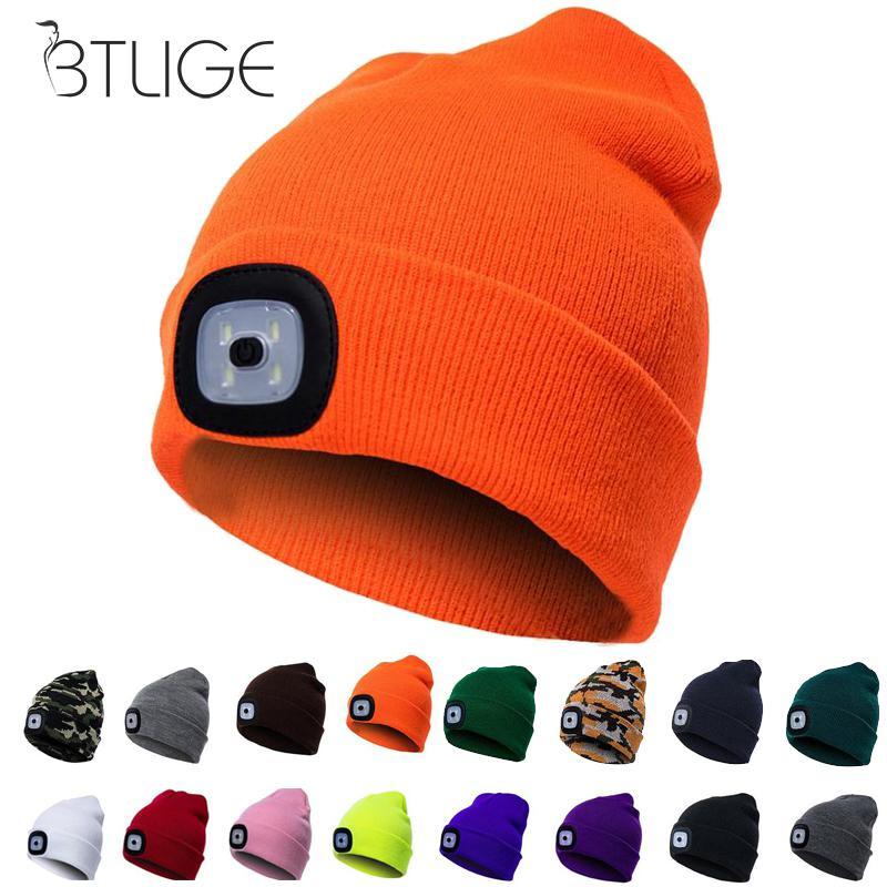 Unisex LED Beanie Hat With Battery Women Men Camping Running Skiing Bonnet Skullies Caps Knitting Woolen Hat
