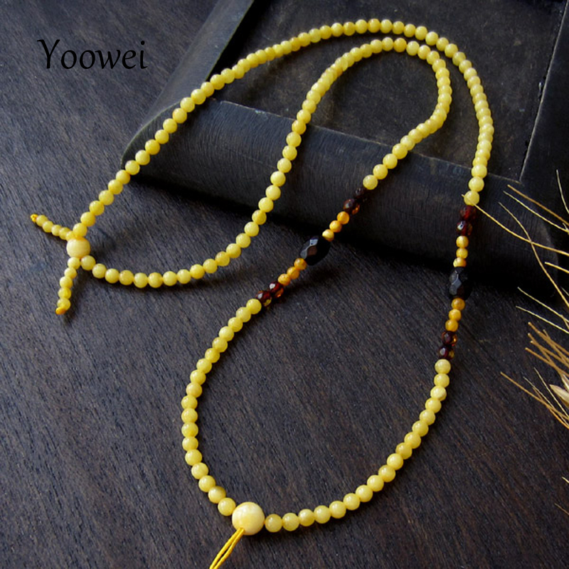 Yoowei 3mm Ronda Collar de Ámbar Piedra Preciosa Natural Jewlery Regalo de Las Mujeres 50 cm Strand Collar de Pequeñas Cuentas de Ámbar Báltico Bijoux