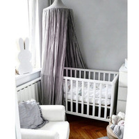 Round Dome Hanging Cotton Bed Canopy Mosquito Net Curtain For Baby Kids Reading Playing Home
