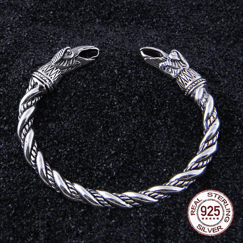 S925 Sterling Silver Viking Odin Raven Bangle with wood box as gift for men or women