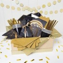 1 компл. Черное золото серии одноразовые посуда день рождения шары позолота бумага соломинки/чашки украшение стола Свадебные Вечерние/вечерние поставки