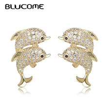 0a6e8f8a4 Blucome Trendy Double Dolphins Earrings Full Rhinestones Small Stud Animal  Earrings Gold Color Copper Jewelry Ears Accessories
