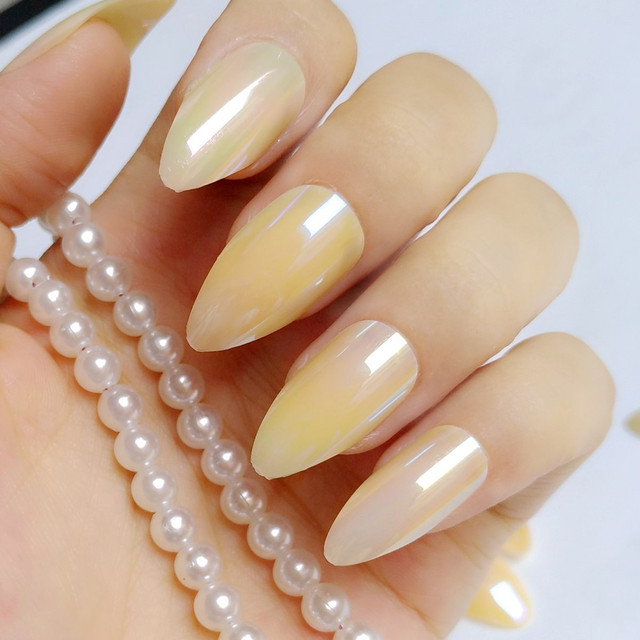 Holographic Natural Yellow False Nails Stiletto Acrylic Chameleon Mirror Fake Nail Full Cover Manicure Tools