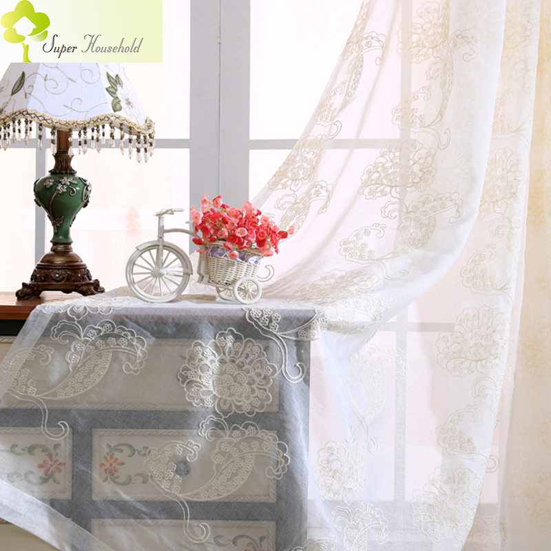 Pastoral Cotton Linen Embroidered Voile Curtains For Bedroom Tulle Curtain Living Room Window Treatments Sheer Decoration