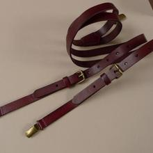 Cowhide strap unisex wine red suspenders British retro three clips