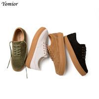Yomior 2019 New Brand Real Cow Leather Men Casual Shoes Vintage School Lace Up Loafers Flats Dress Sneakers Driving Shoes