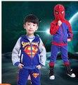 Spiderman, Superman terno meninos primavera e outono crianças meninos de lã terno dois conjuntos de crianças