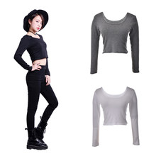 564a6e77a5 Fall fashion autumn Sexy Crop Top Ladies long Sleeve t shirt women tops  Basic Stretch T-shirts Bare-midriff Black Grey White