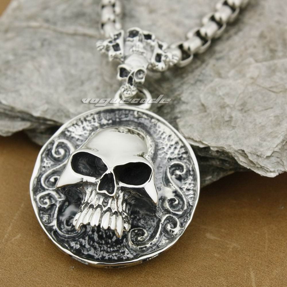 Solid 925 Sterling Silver Huge & Heay Skull Mens Biker Pendant 8C005(Necklace 24inch) solid 925 sterling silver claw skull mens biker pendant biker jewellery 8c007 necklace 24inch