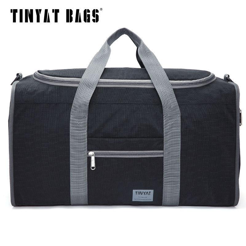 TINYAT Male Men Travel Bag Folding Bag Protable Molle Women Tote Waterproof Nylon Casual Travel Duffel Bag Black Luggage T-306