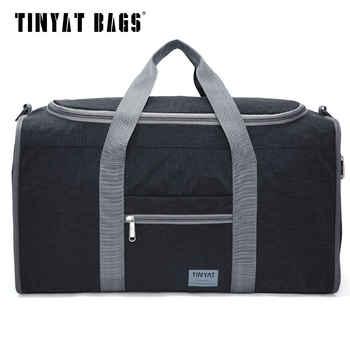 TINYAT Male Men Travel Bag Folding Bag Protable Molle Women Tote Waterproof Nylon Casual Travel Duffel Bag Black luggage T-306 - Category 🛒 Luggage & Bags