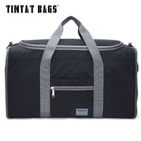 TINYAT 남성 남성 여행 가방 접는 가방 Protable 몰리 여성 토트 방수 나일론 캐주얼 여행 더플 백 블랙 수하물 T-306