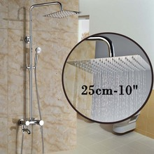 Chrome Brass 10 Rainfall Ultrathin Showerhead Bathroom Bath Shower Faucet Mixer Valve with Tub Spout