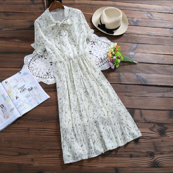 9ed0f421a31 2018 New Fashion Autumn Women Dress Temperament Cotton Linen V-nevk Full  Sleeve Slim High Waist Printing Bowknot Mini JR122