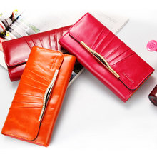 3 fold2017 Genuine Leather Women Wallet Long Purse Vintage Solid Cowhide multiple Cards Holder Clutch Fashion Standard Wallet-50