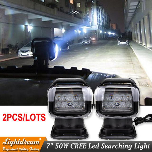 Black 12v 24v 50w LED Rotating Remote Control Work Light Spot for Off road Vehicles Trucks Car Boat SUV Emergency Lighting x2pcs