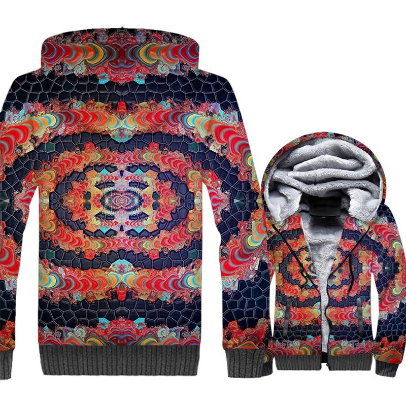 Mandala Totem Jacket 3D Print Bohemian Style Hoodie Men Vintga Sweatshirt 2018 New Winter Thick Fleece Warm Coat Brand Clothing