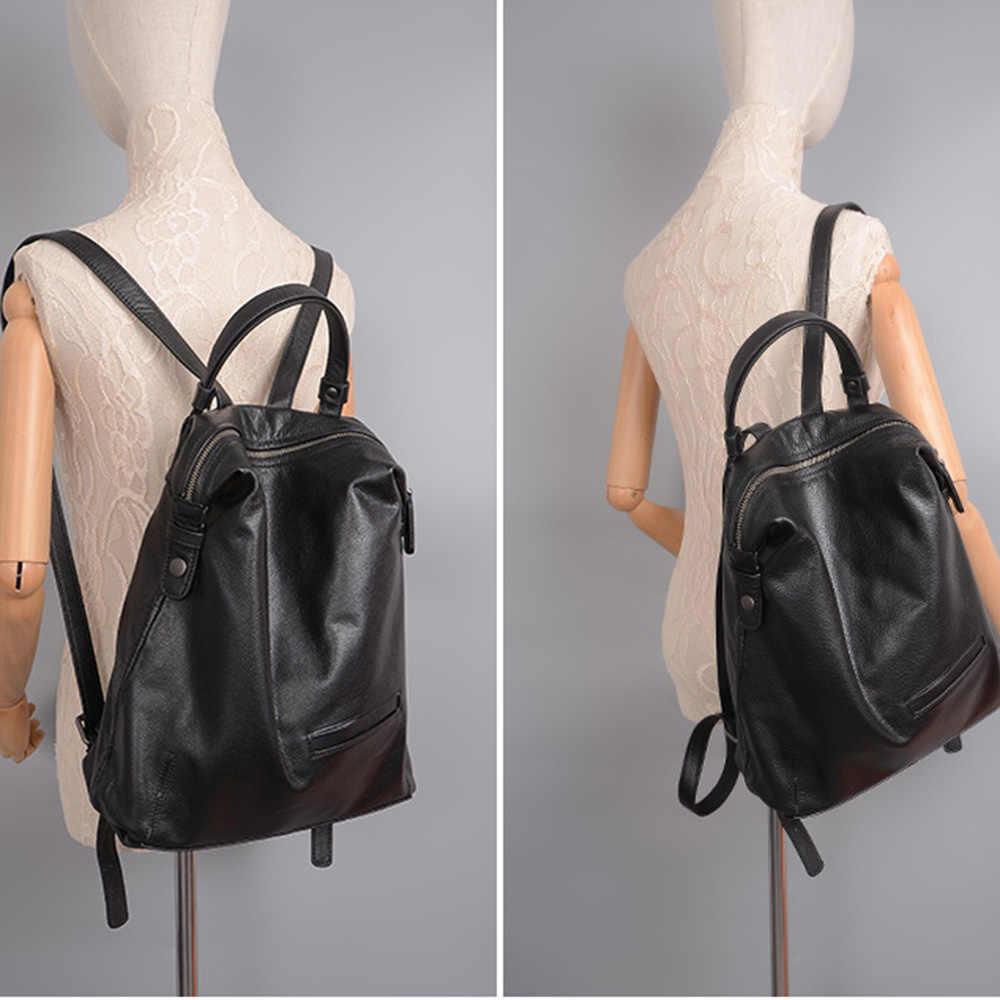 """""""שחור אופנה נשים תרמיל 100% אמיתי פרה אמיתי עור ילקוט לילדה נשי נסיעות תיק גדול מחשב נייד תרמיל"""
