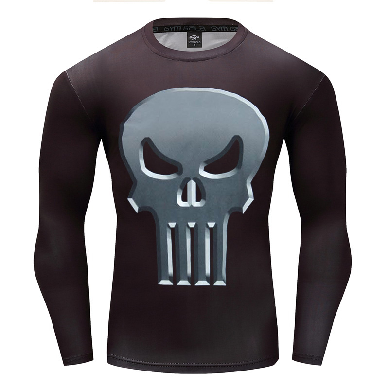 AAA Hot 2017 Punisher Flash Superman/Batman Men Long Sleeve Bodybuilding T Shirt G ym Compression Tights Tops Fitness T-shirt