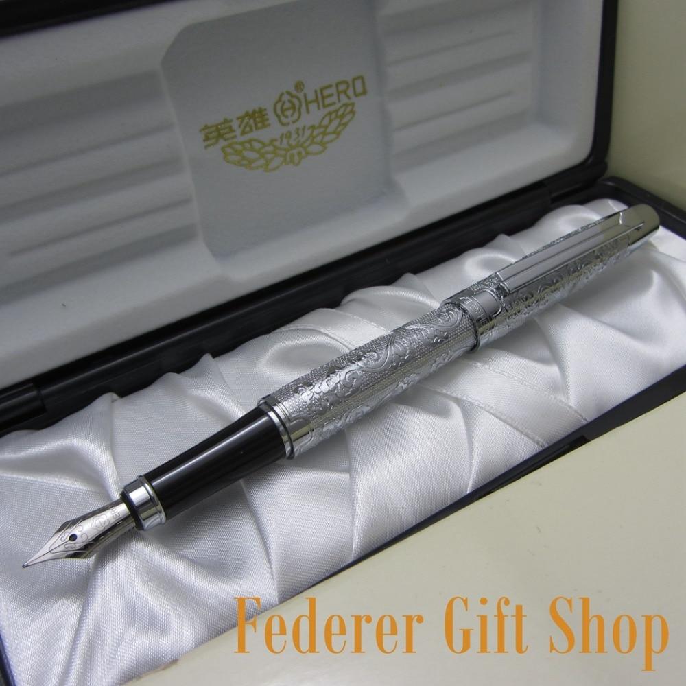 HERO 103 luxury fountain pen full silver bright medium nib flower embossed and Original box italic nib art fountain pen arabic calligraphy black pen line width 1 1mm to 3 0mm