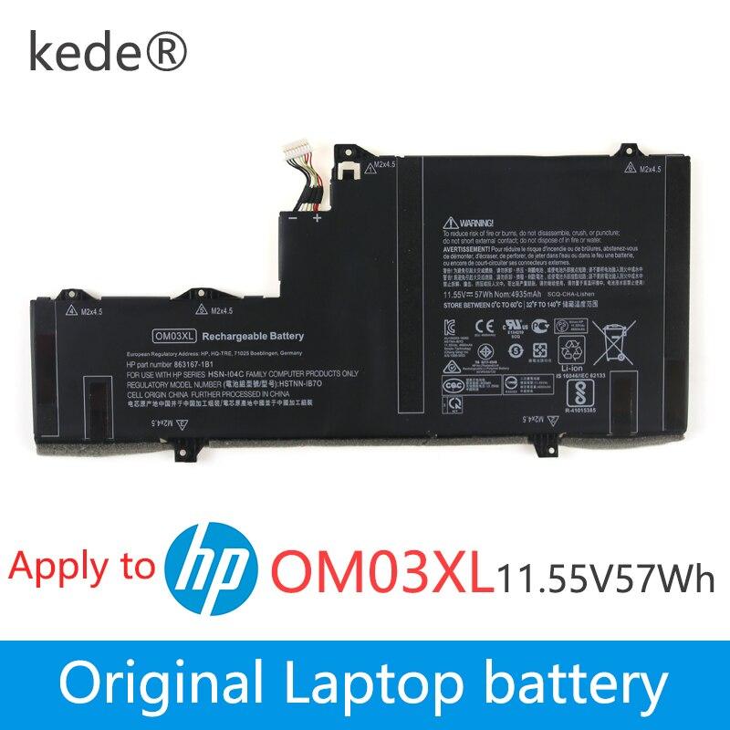 Kede 11.55 V 57wh D'origine OM03XL batterie d'ordinateur portable Pour HP Elitebook x360 1030 G2 HSTNN-IB7O HSN-I04C 863167-171