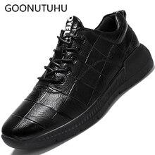 где купить 2019 new spring fashion men's shoes casual leather lace up sneakers male classics black and blue shoe man platform shoes for men по лучшей цене