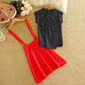 2016 Mais Recente Mulheres Summe Terno Mancha Redonda T-shirt Curto com Saia Vermelha Moda e Doce