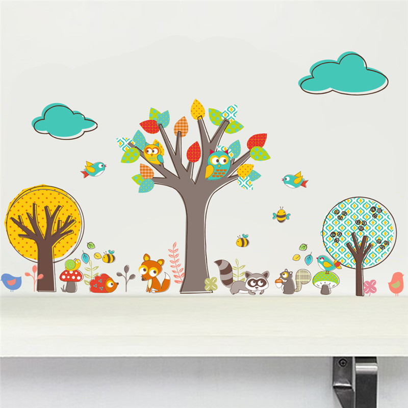 Owls Jungle Animals Wooden Bedroom Furniture Kids: Colorful Forest Tree Jungle Animals Owls Wall Stickers For