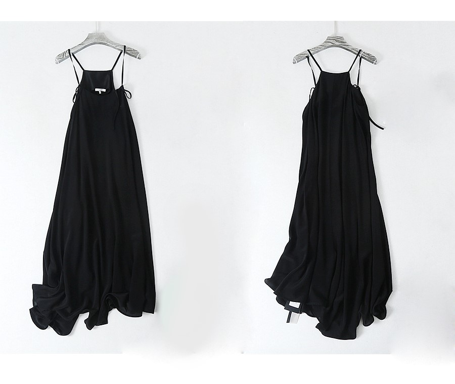 Black Dress Women 100% Silk Simple Design Adjustable Spaghetti Strap Sleeveless Long Dress Elegant Style New Fashion 18 5