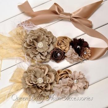 8set/lot  Peony Flower Sash  Matching Baby Headband   Pregnancy Sash  Vintage Inspired Belt