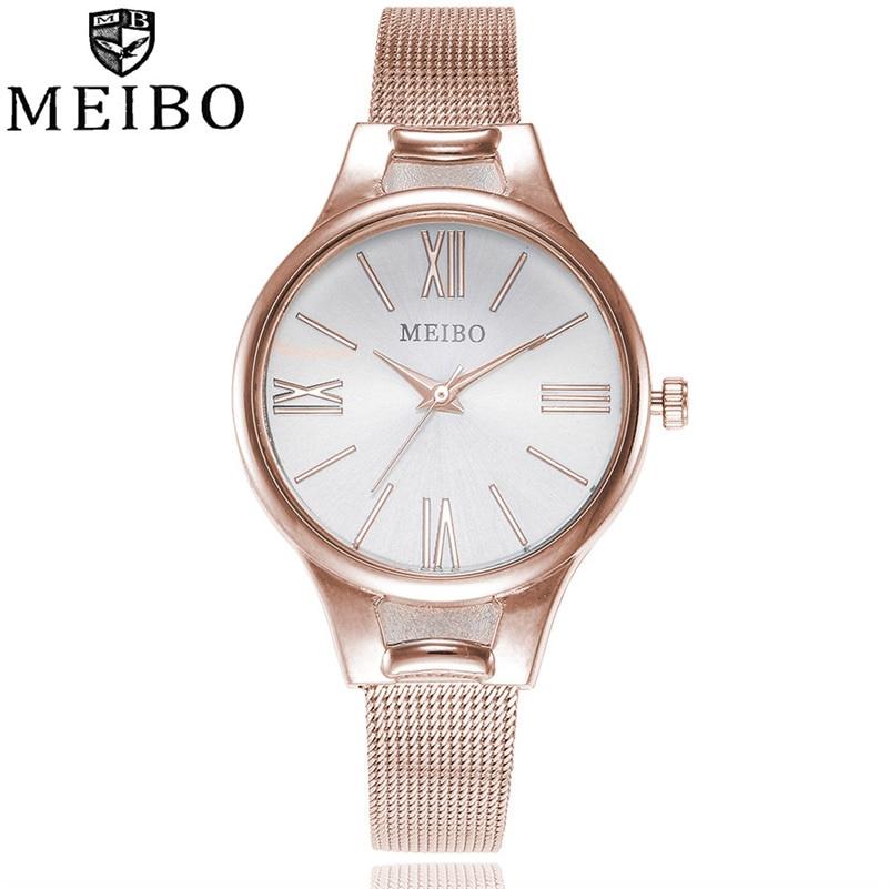 2018 Fashion MEIBO Women's Casual Quartz Stainless Steel Newv Strap WatchAnalog Wrist Watch Dress High Quality Relogio Feminino