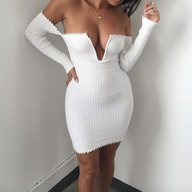 Women Dresses Slash Deep V Neck Sexy Knitted Dress Long Sleeve Bodycon Sheath Pack Hip Dress Solid Party Club Mini Dress lolen women s fashion sheath dress and long sections package hip sexy v neck long sleeved knitted dresses nightclub