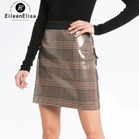 Elastic Band Skirt Women Plaid A Line Skirt 2019 Fashion Skirt Mini Skirt PU