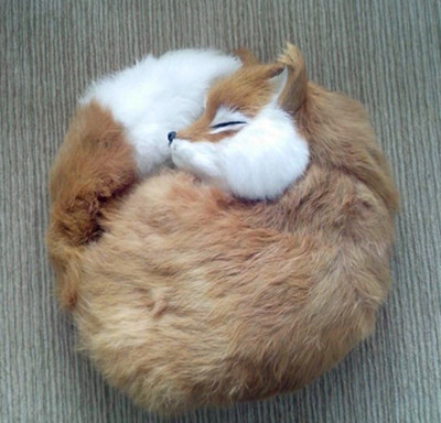 simulation cute sleeping fox 27x27x12cm model polyethylene furs fox model home decoration props model gift d362