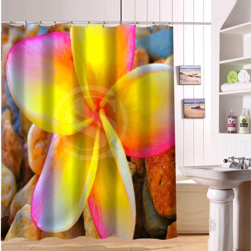 F516XY16 Custom flowers pink rose stone Fabric Modern Shower Curtain bathroom Waterproof LF13