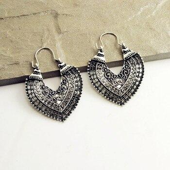 Boho Heart Shaped Women's Earrings Earrings Jewelry Women Jewelry Metal Color: Antique Silver Plated