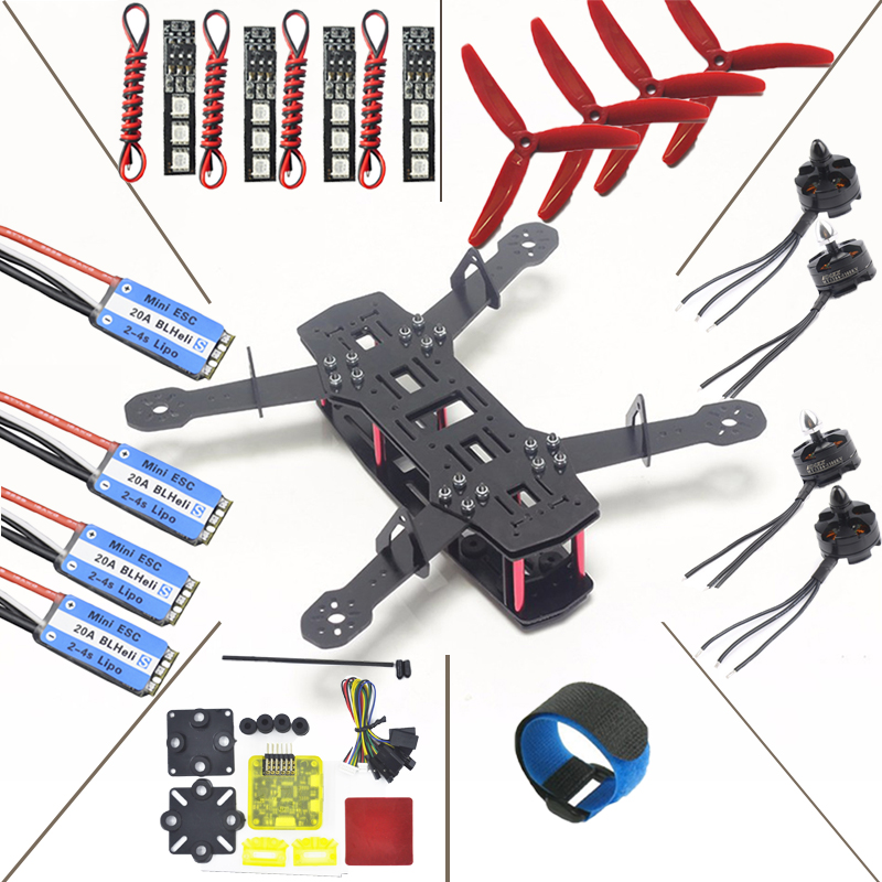 QAV250 Quadcopter Frame Kit+CC3D EVO flight controller+20A ESC BLHeli_S+MT2204 2300KV Brushless Motor 12V 7 Colors LED Light DIY rcmall for qav250 250mm quadcopter pure carbon fiber frame arf cc3d flight controller emax motor simonk 12a esc diy kit dr0717