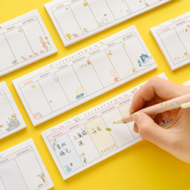 New Arrival Kawaii 30 Sheets Sticky Weekly Planner Memo Pad To Do List Study Work Schedule Plan Paperlaria School Stationery