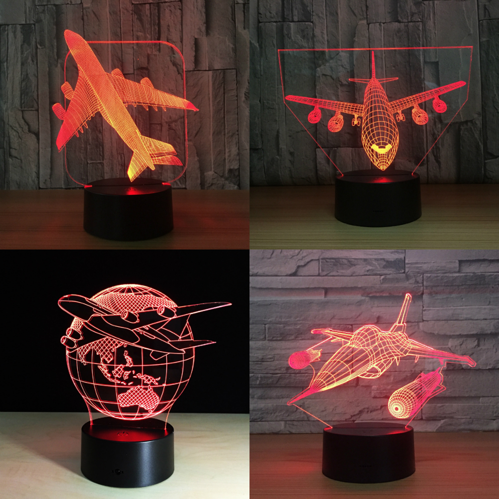 Jet AirPlane Warplane Fly To Earth Aircraft Helicopter 3D LED Lamp 7 Color Change Baby Bedroom Table Lamp Best Home Deco Gift