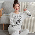 Hot Selling 2017 Spring Women Pajamas Set Cotton Pyjamas Lady Pijama Female Cute Dog Sleepwear Gray Homewear For Women  M-2XL