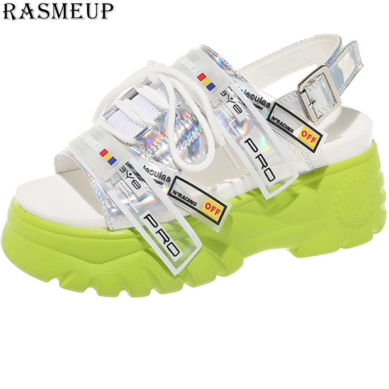RASMEUP 6.5cm Platform Women's Sandals 2019 Fashion Style Summer Women Chunky Beach Sandal Casual Thick Soled Woman Shoes Green