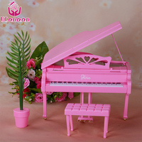 UCanaan 1 6 Doll Accessories Piano Pink Safe Plastic Material Miniature Musical Instruments Toys Furniture For