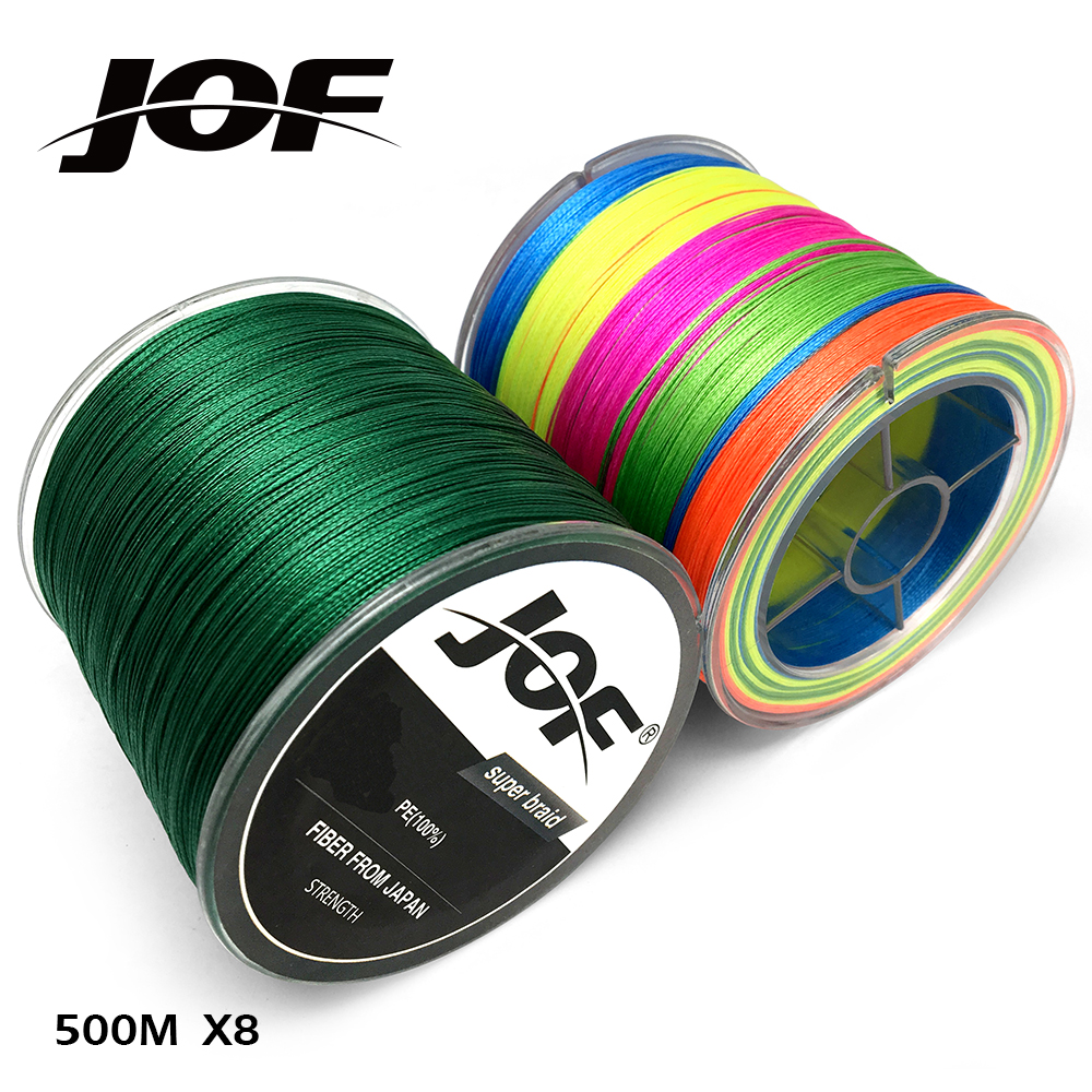 NEW 8STRANDS 500M JOF Brand Super Strong Japan Multifilament PE 8 Braided Fishing Line 12-70LB fucile