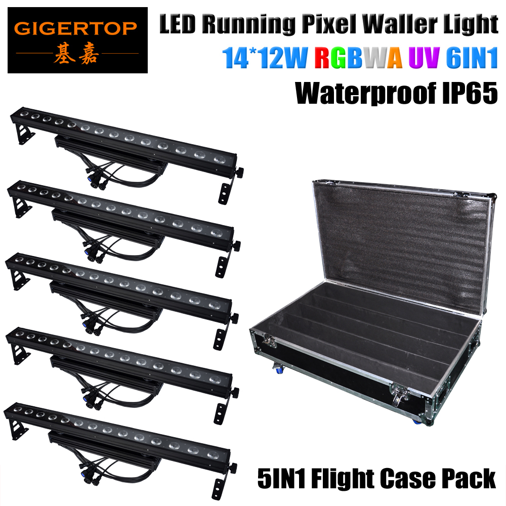 5in1 Roadcase Pack 14x12W Colorbar LED RGB Outdoor Wall Washer 100cm Long 3 Color Architectural Lighting DMX/mater, slave/Sound