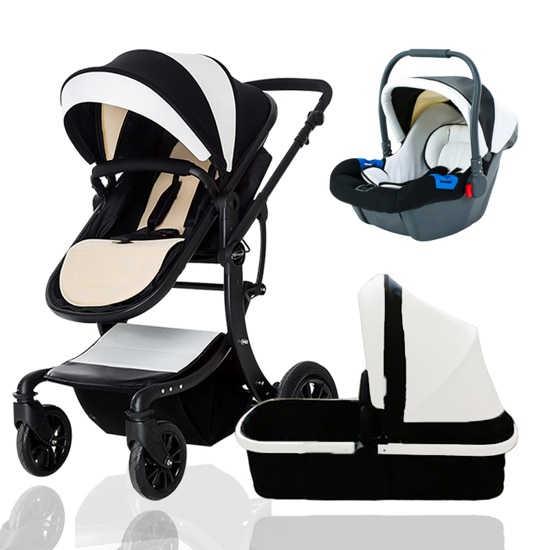 TEKNUM 3 in 1 baby Stroller Leather Baby Pram baby strollers 3 In 1 For newborn baby 0- 3 years send gifts Fabric carriages все цены