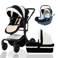 TEKNUM Strollers Leather Baby Pram increase the sleeping basket 87*39cm 3in1 baby Stroller newborn baby 0 3 years send gifts