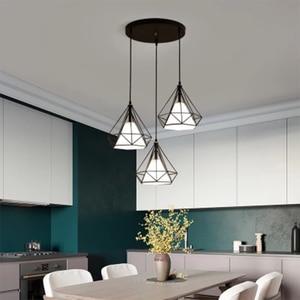 Image 2 - Luminarias เพดานห้องรับประทานอาหาร KITCHEN FIXTURE จี้สาย 2 3 หัวเหล็กสีดำสีน้ำตาลเพชรที่เรียบง่าย E27 แขวนโคมไฟ