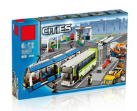 Blocks the Compatible Legoings City Public Transport Station Set Toys Building Bricks Bus Train Car Christmas gift for boy bith