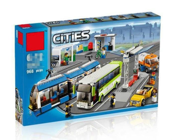 Blocs la Compatible Legoings Ville Public Transport Station Ensemble Jouets Briques de Construction Bus Train Voiture cadeau De Noël pour garçon bith