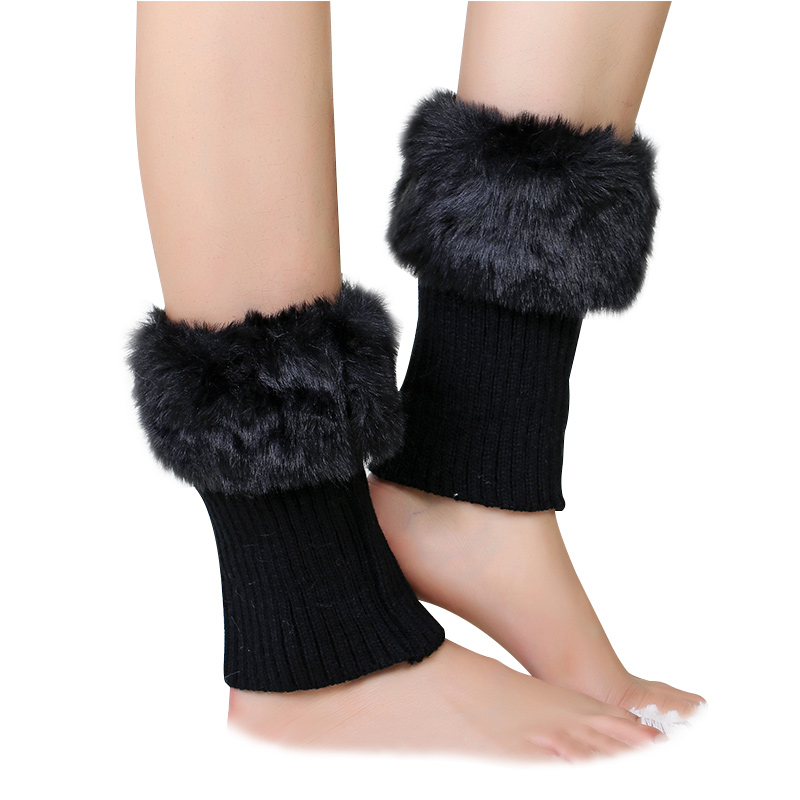 Flanging Women Leg Warmer Anti-fur Thicken Warm Winter Lady Knitting Boot Warmer Solid Color High Elastic Comfort Hosiery Girl